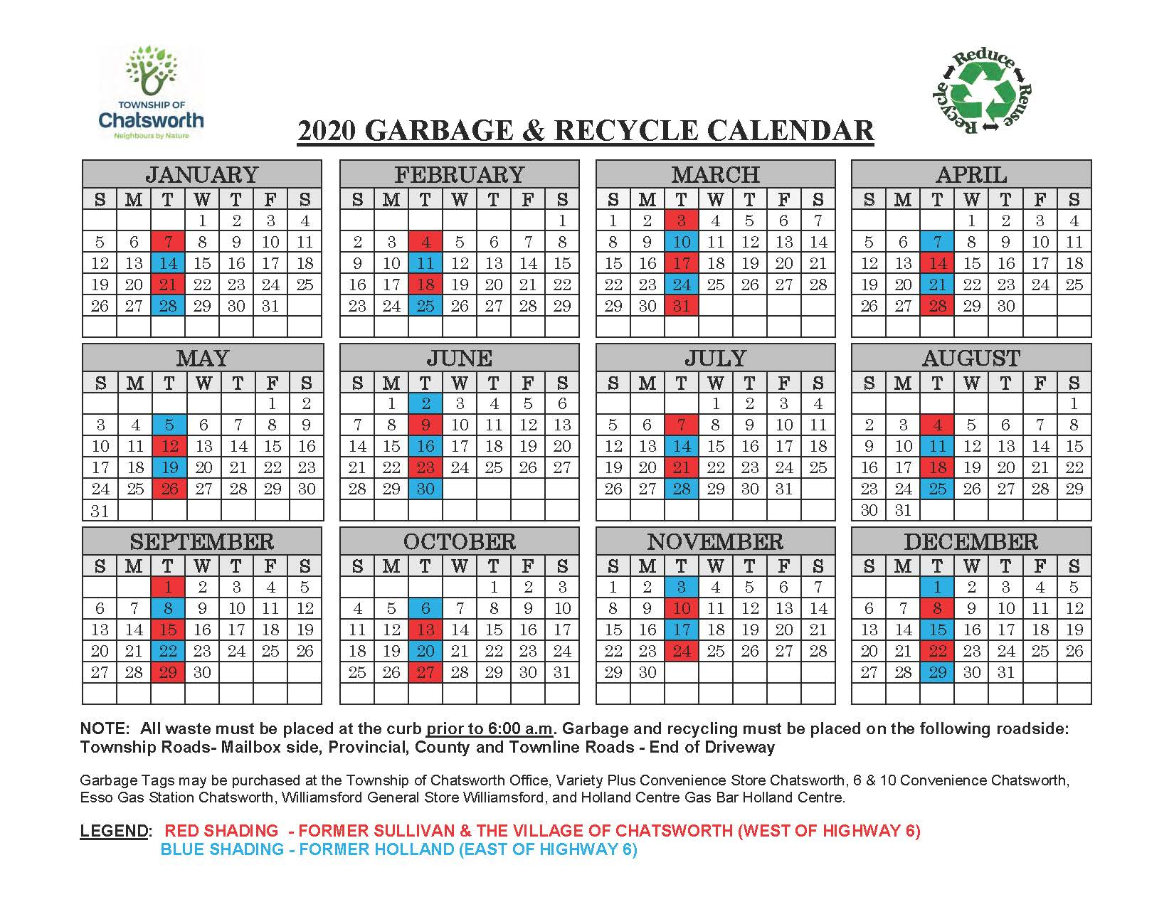 2020 Garbage & Recycling Schedule