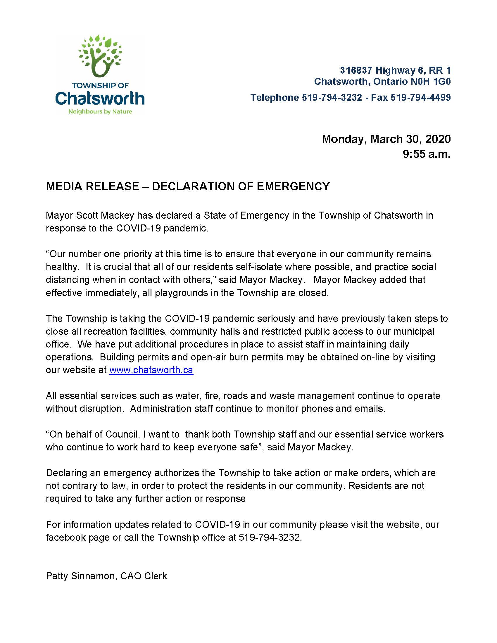 Press Release - March 30, Declaration of Emergency