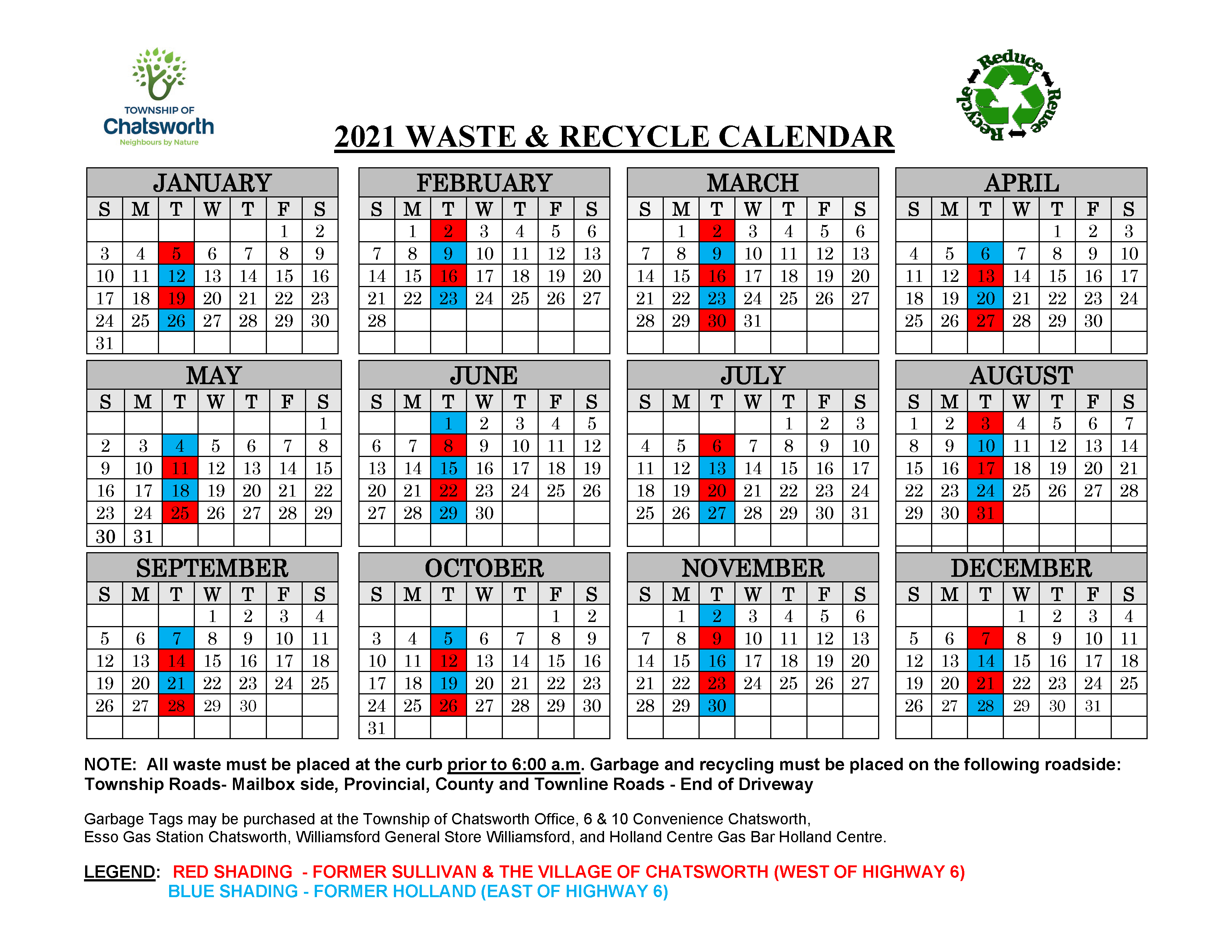 2021 Waste & Recycle Calendar