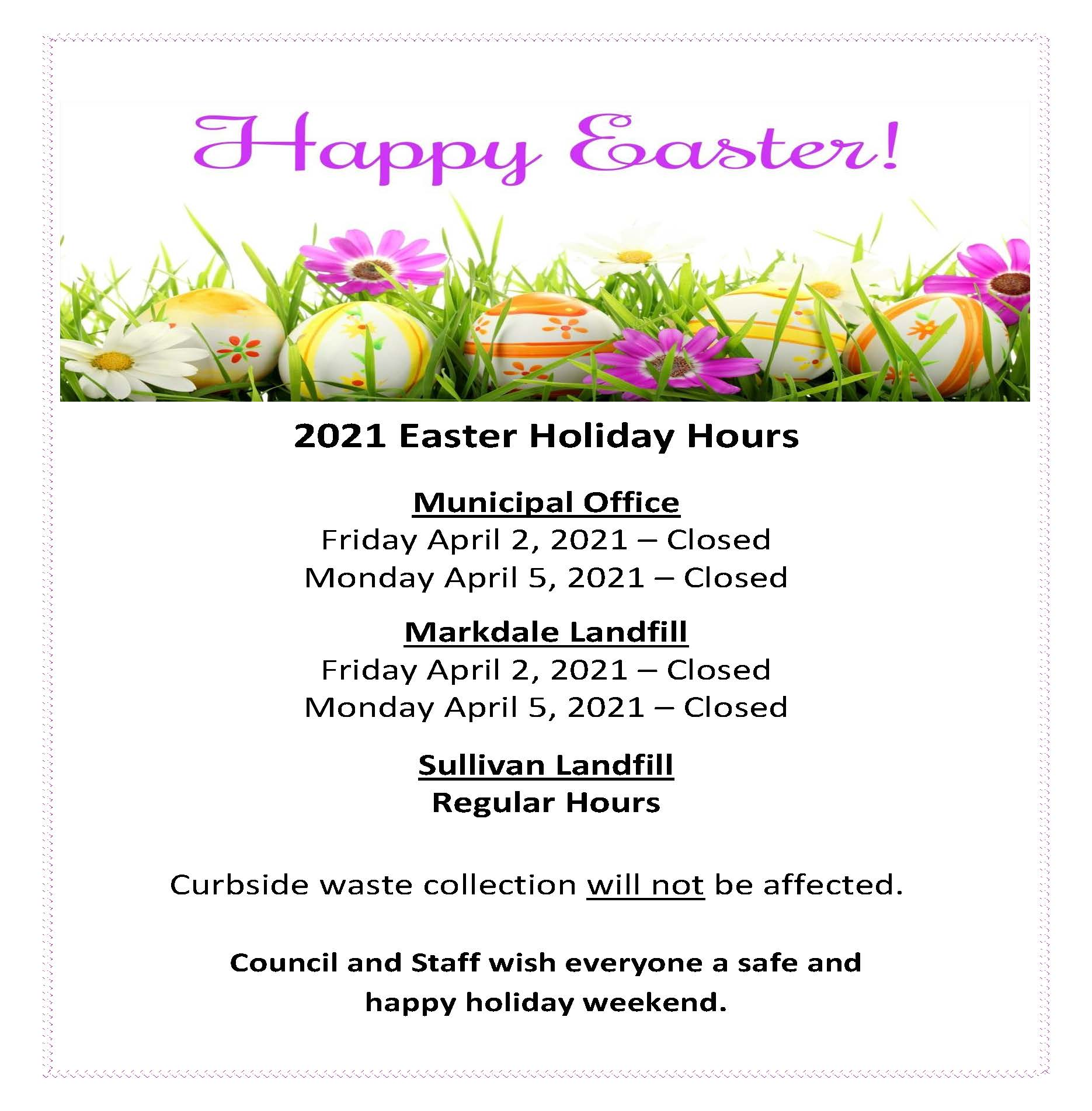 2021 Easter Holiday Hours